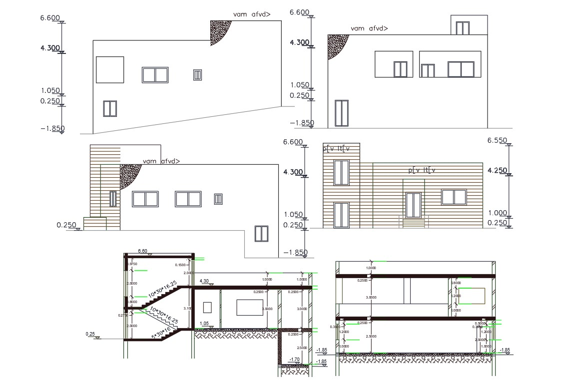Architecture House Building Section And Elevation DWG File