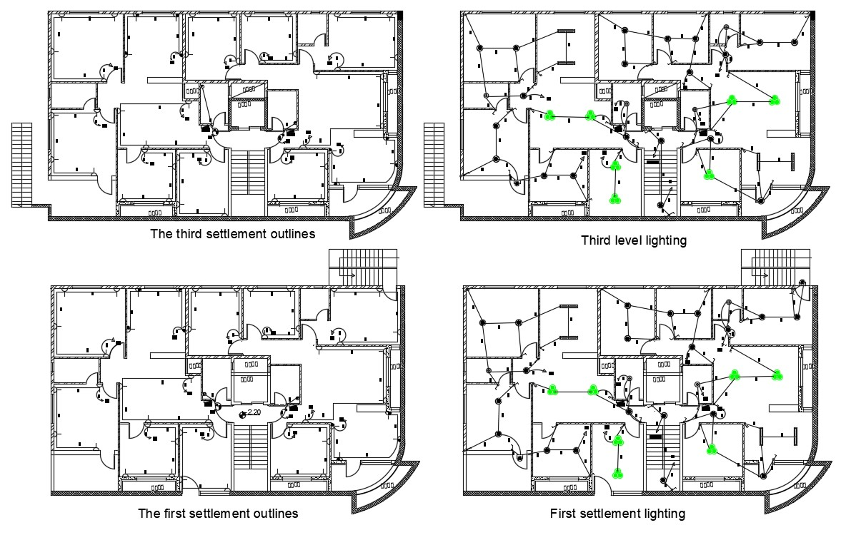 AutoCAD Apartment False Ceiling Light Electrical Plan DWG