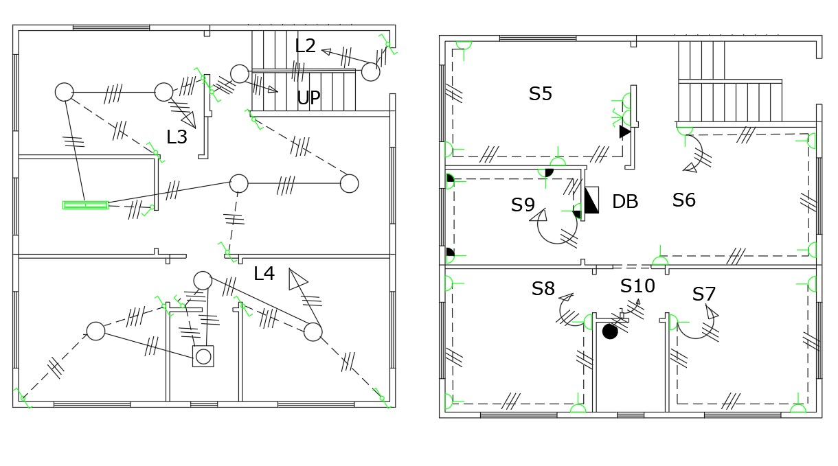 AutoCAD Drawing Of Residential Electrical Layout Plan