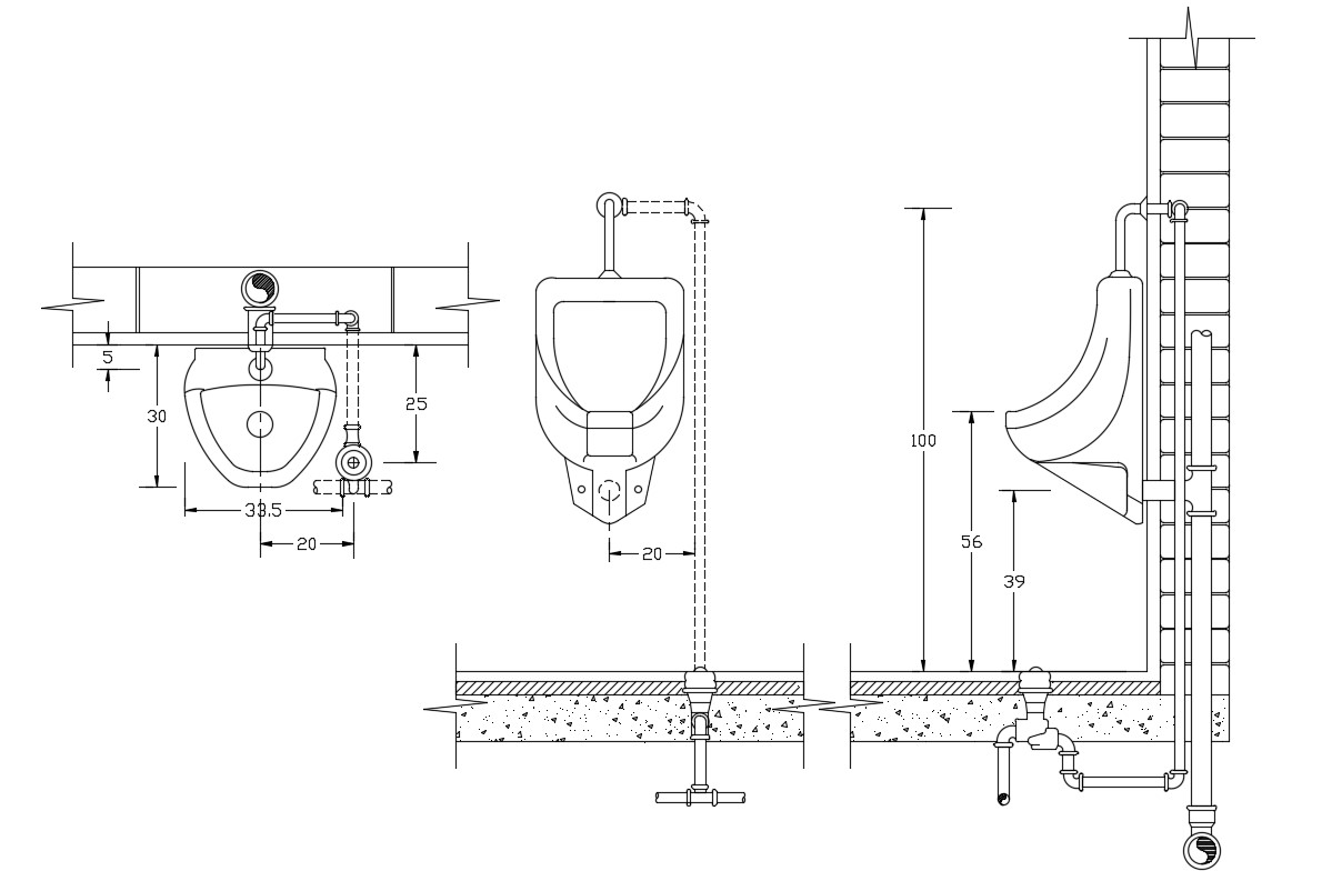 AutoCAD Drawing Of Urinal Fixing Design CAD File Free