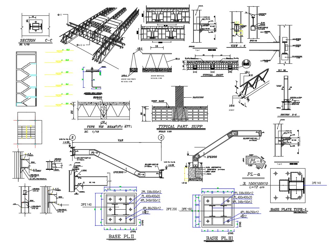 AutoCAD Drawing Structure Truss Stair I section And
