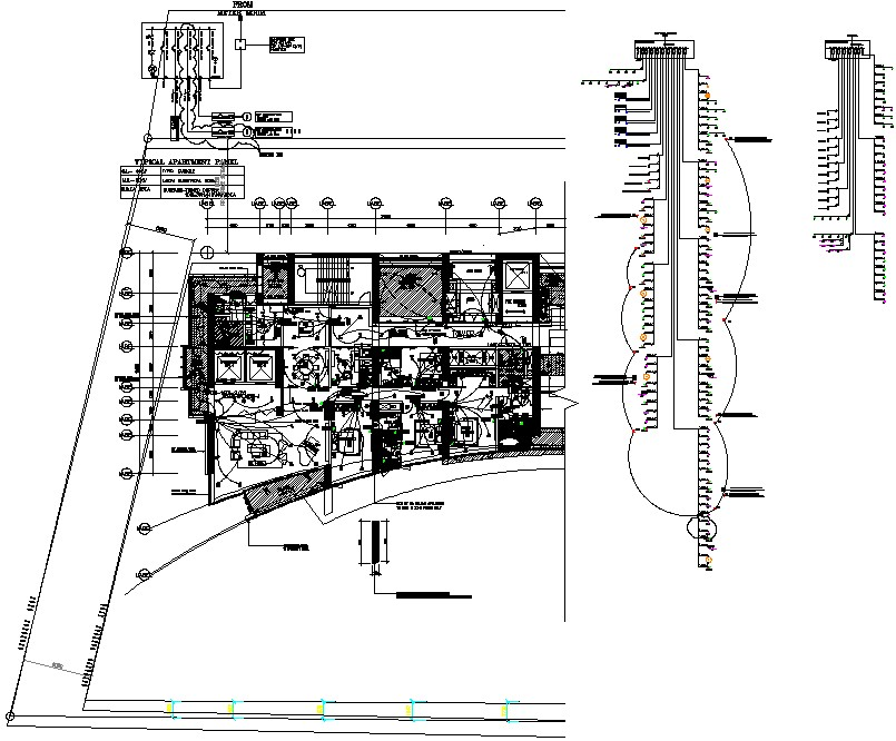 Autocad DWG fie of single-story Apartment house plan