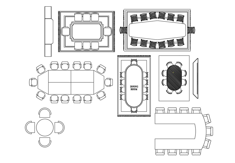Autocad drawing of the different types of awesome dining