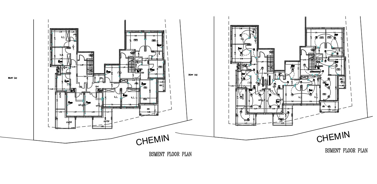 Basement Floor Plan With Electrical Layout AutoCAD Drawing