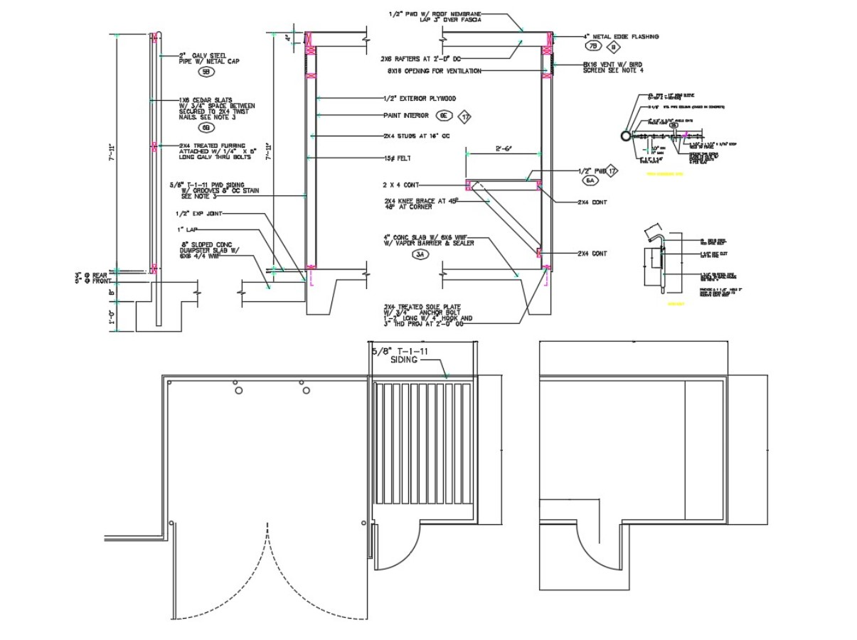 Best Autocad Drawing Of Door Section Plan Elevation Design