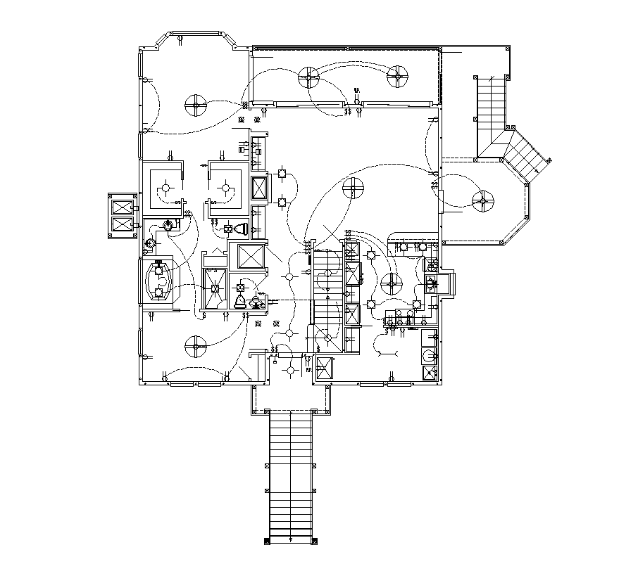Building electrical installation detail plan.2d view