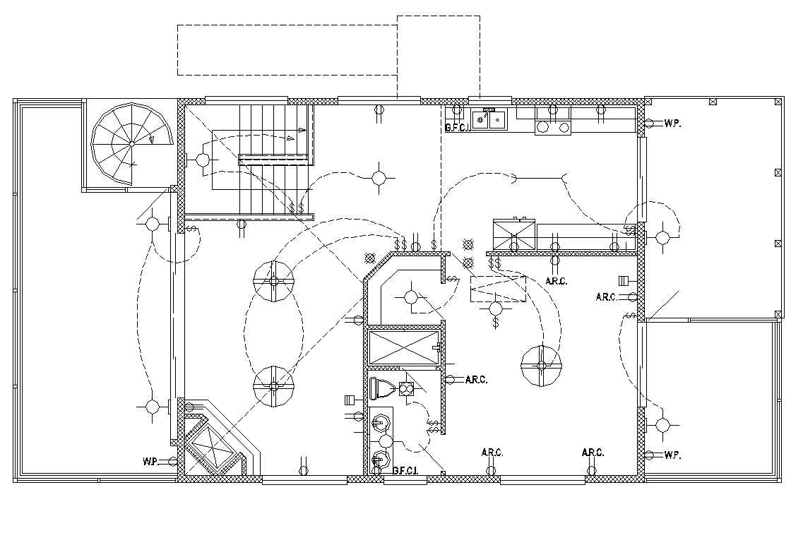 Building electrical wiring installation detail plan 2d