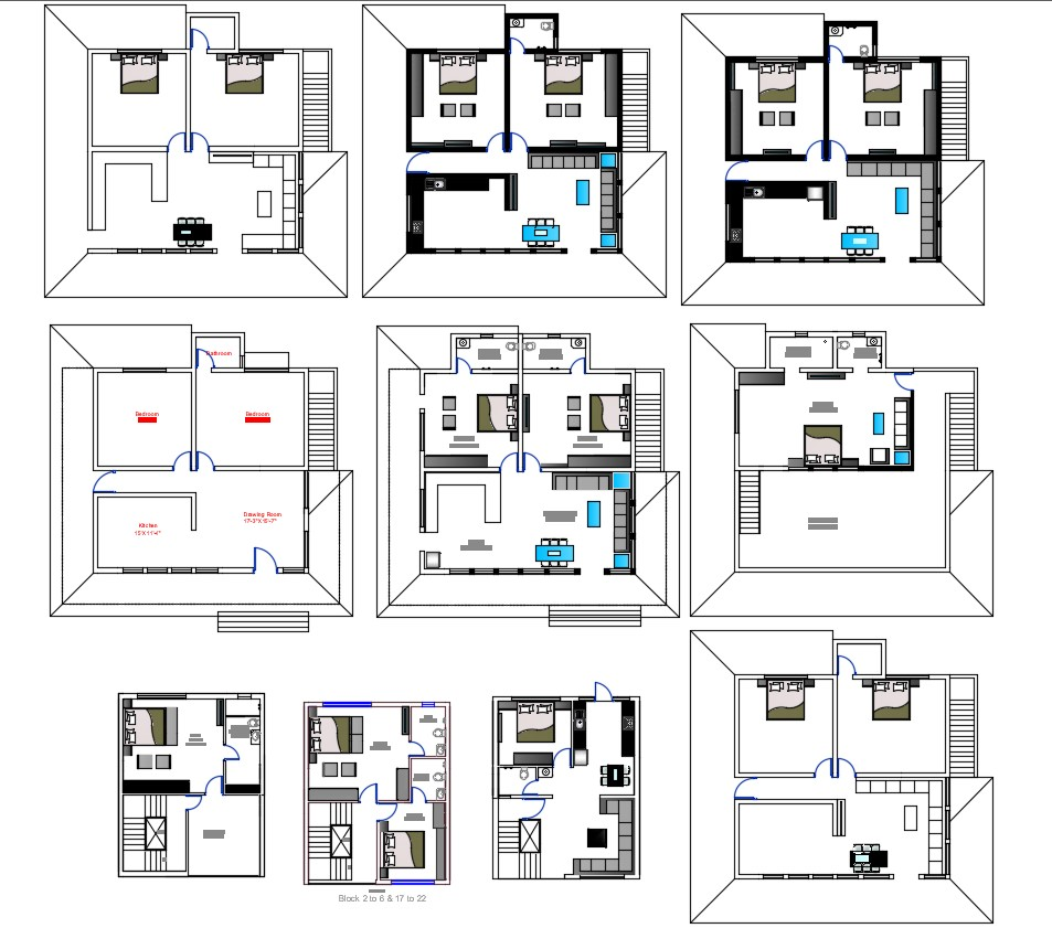 Bungalow Planning With Different Types Of Furniture Layout