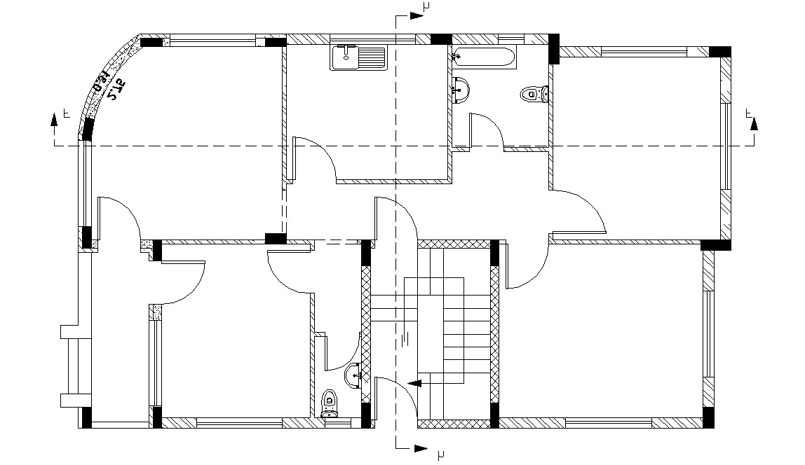 CAD DWG Drawing Apartment Column Layout Plan Free Download