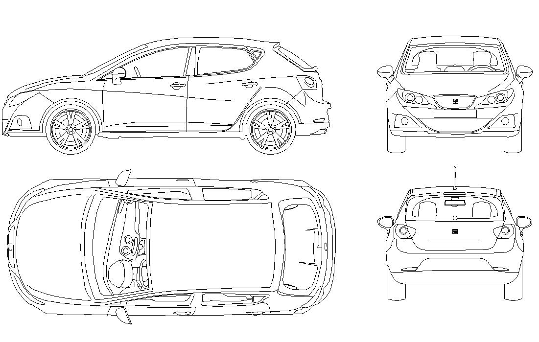CAD vehicle Car block detail elevation 2d view layout file