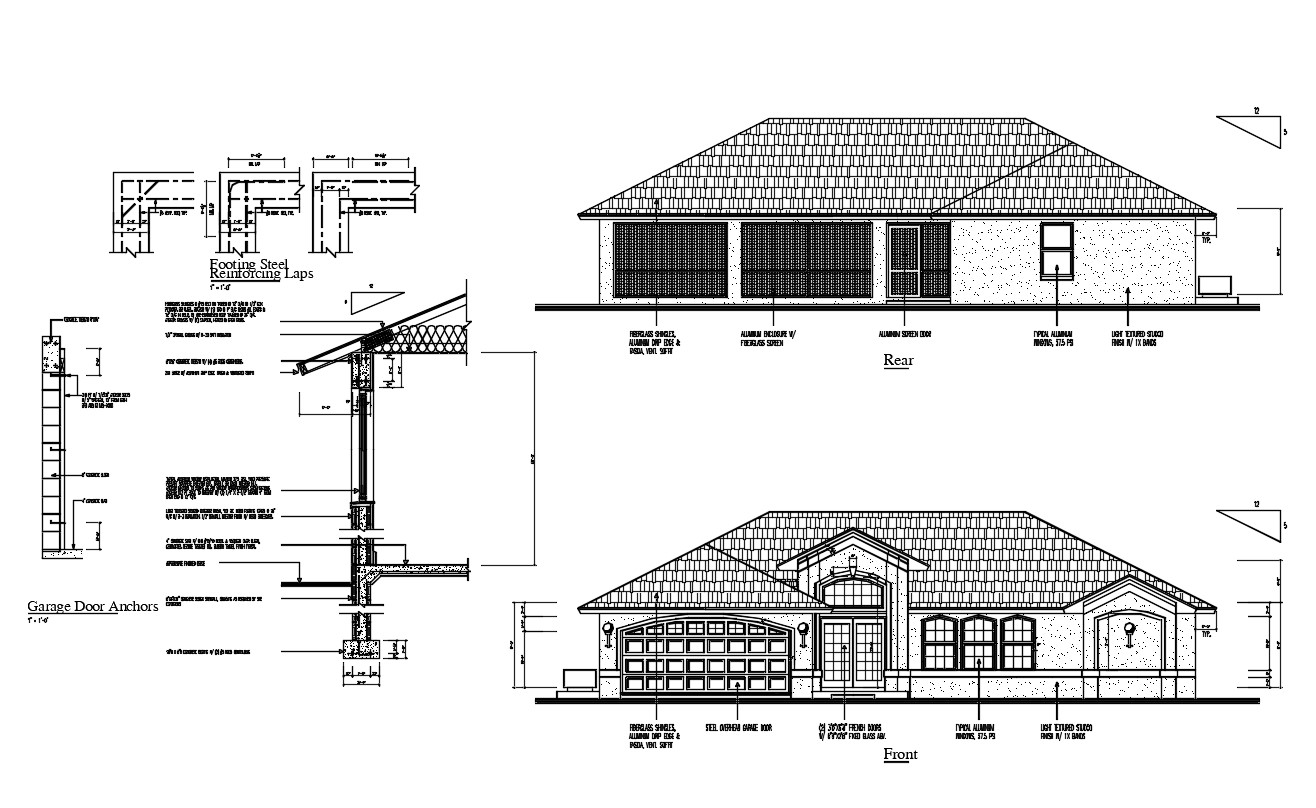 Clay Roof House Elevation Cad Drawing