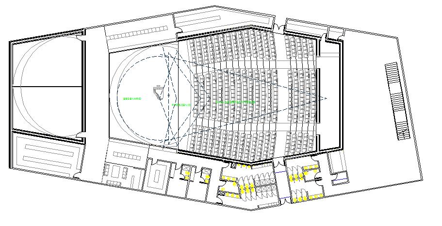 College auditorium hall architecture layout plan details