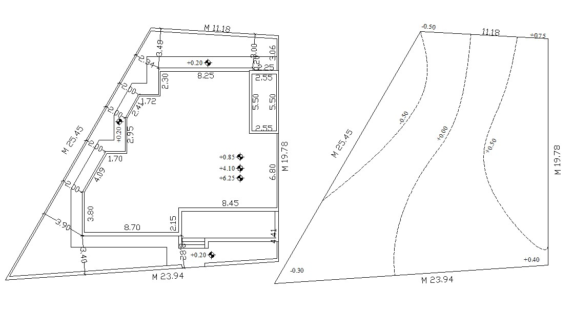 Contour Plan With Site And Building Demarcation AutoCAD