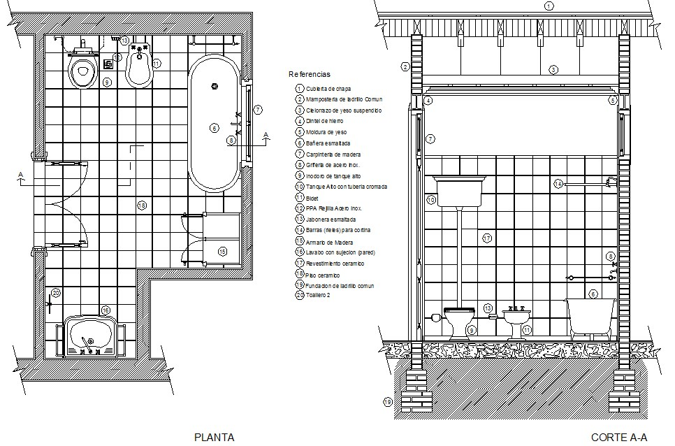 Detail section of antique bathroom plan detail dwg file