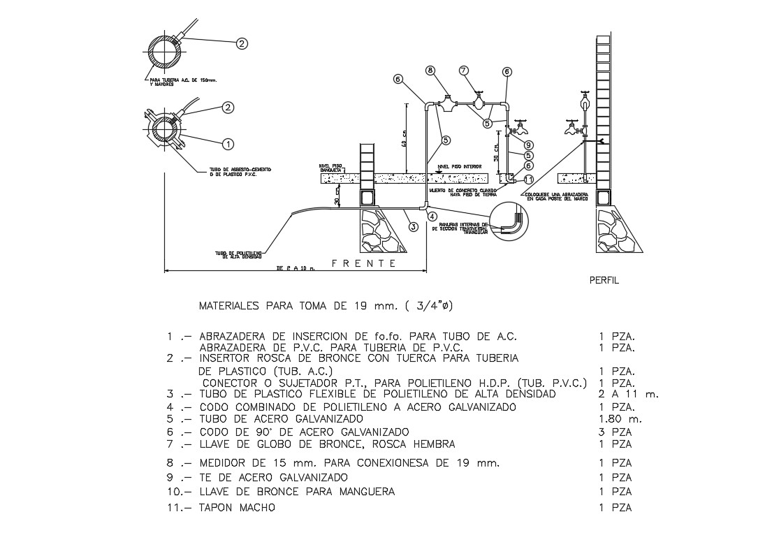 Domiciliary In Take Plumbing Construction Details Dwg File