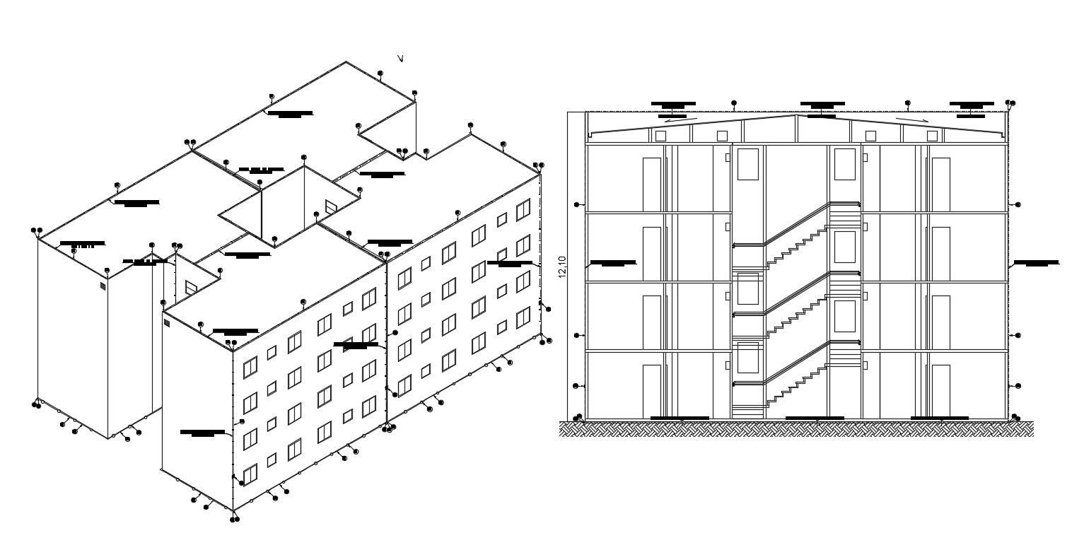 Download Building Section Drawing With 3D Box Elevation