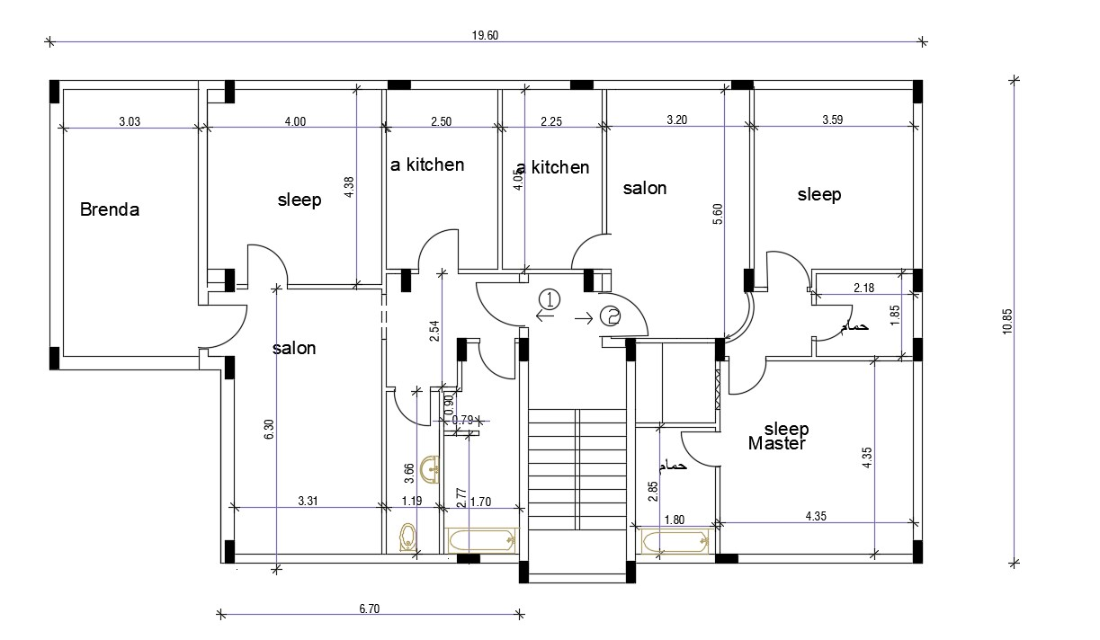 Download Free Home Plan With Column Layout Drawing Free