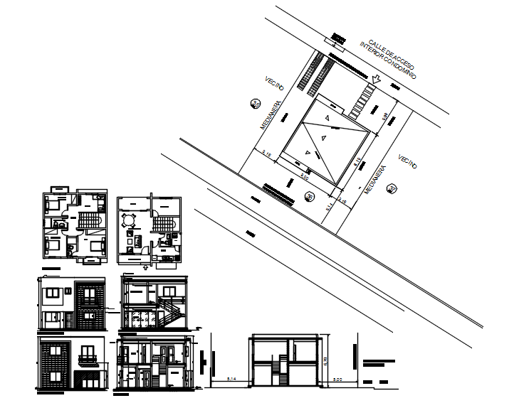 Drawing of 2 storey House with section and elevation in