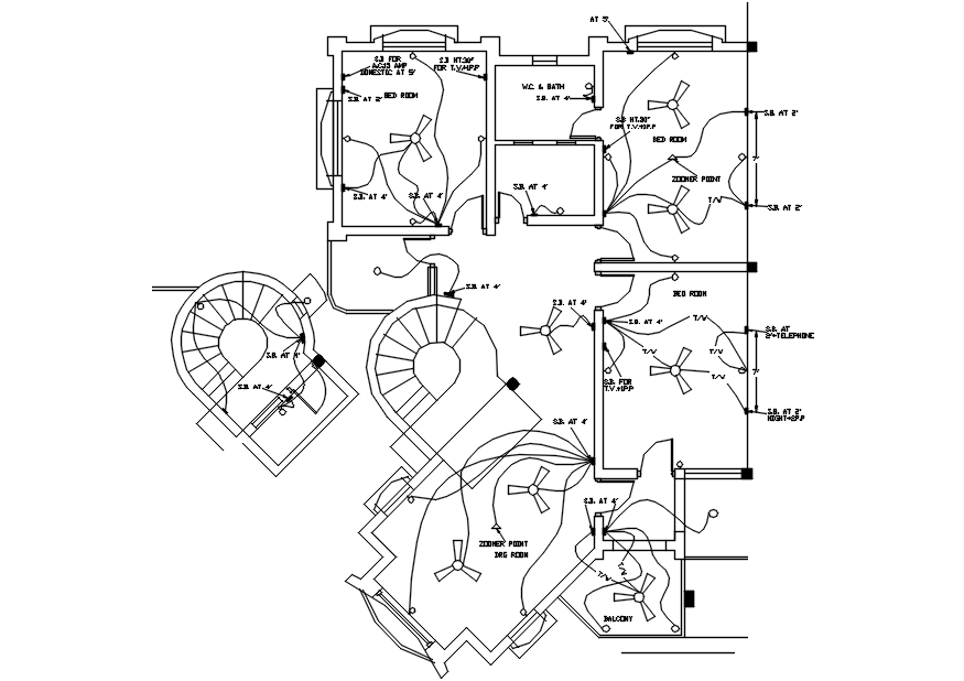 House Wiring Plan Drawing In AutoCAD File
