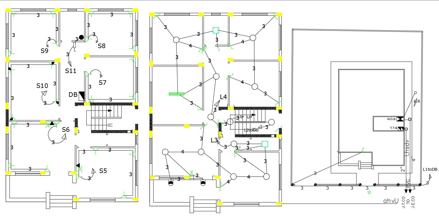 Electrical Floor Plans Of Residential Building Design DWG