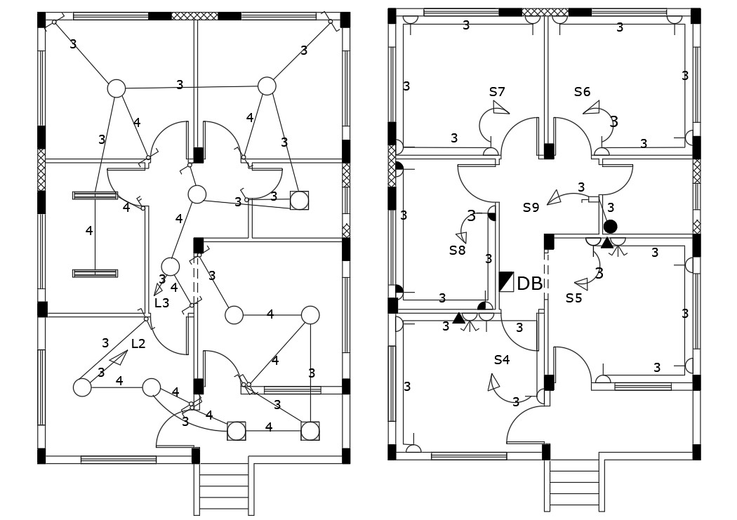 Electrical Layout Plan Of House Floor Design AutoCAD File
