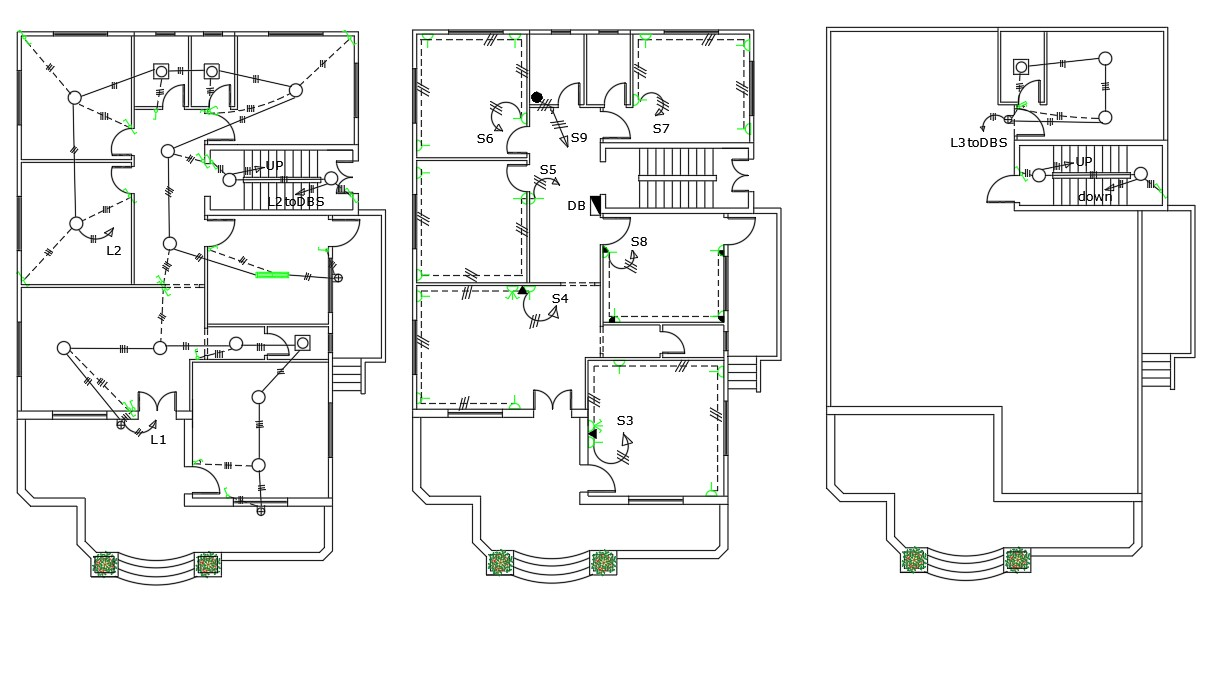 Electrical Layout Plan Of Residential Building Design DWG