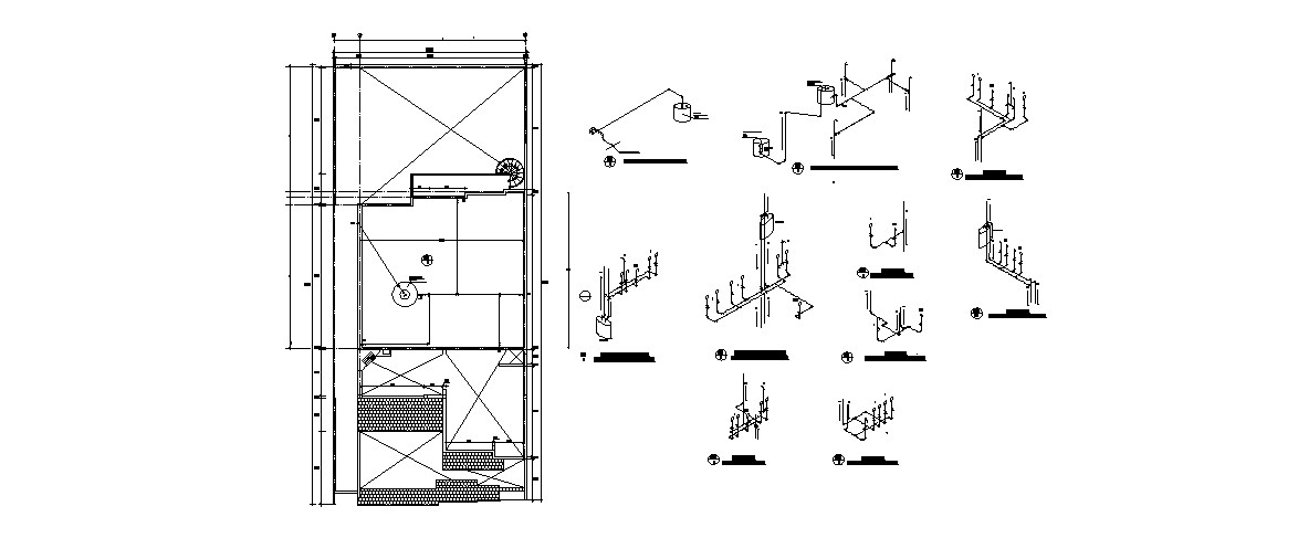 Electrical diagram and installation cad drawing details