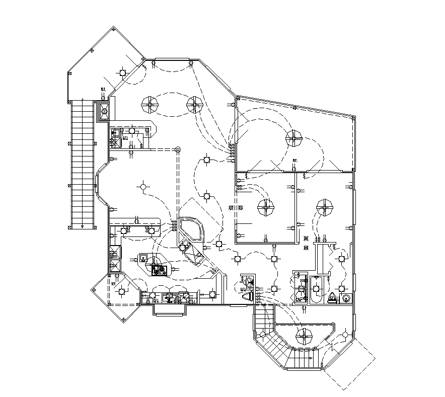 Electrical installation detail plan 2d view layout file