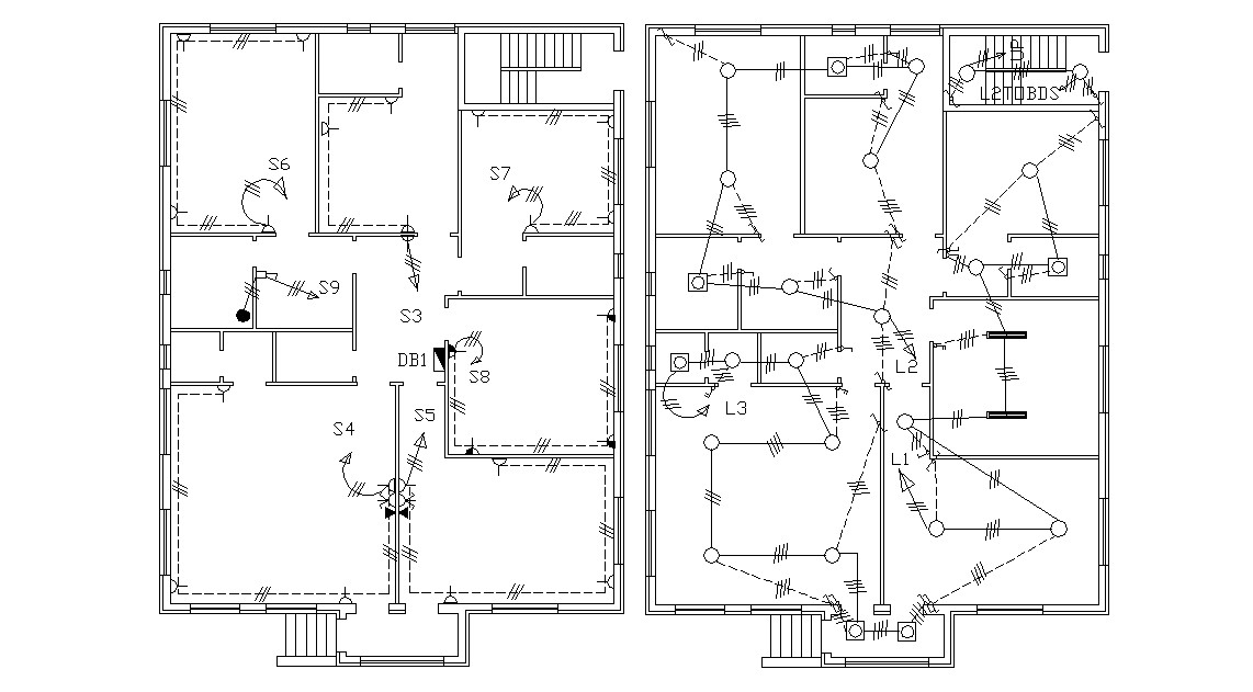 Electrical Layout Plan Of Huge Bungalow Design CAD Drawing