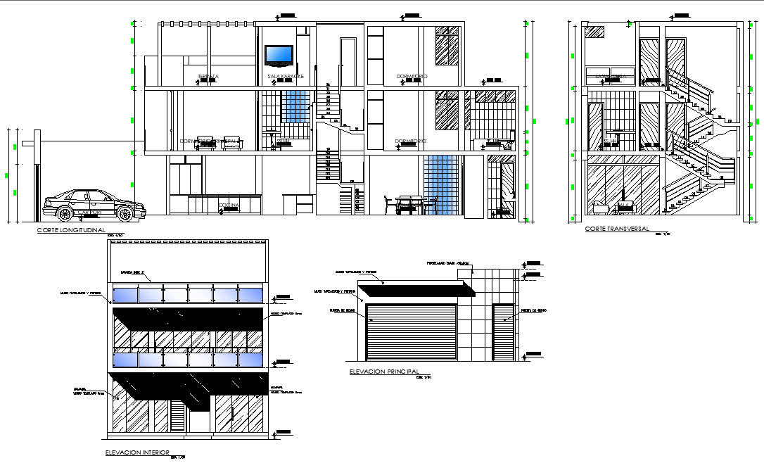 Elevation and section two story residential building plan