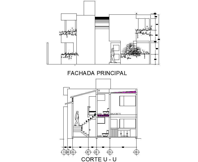 Elevation and section unifamily housing plan detail dwg