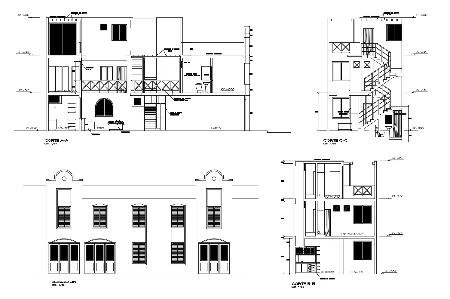 Elevation drawing of 2 storey house with detail dimension