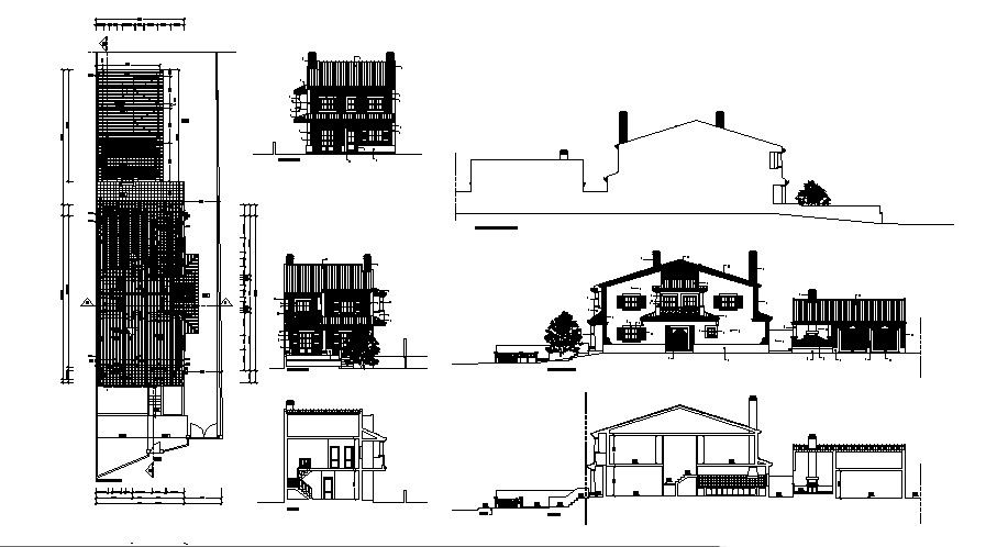 Elevation drawing of the bungalow with elevation and
