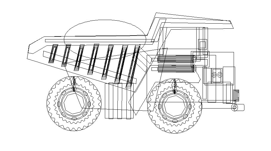 Engineering vehicle side elevation cad drawing details dwg