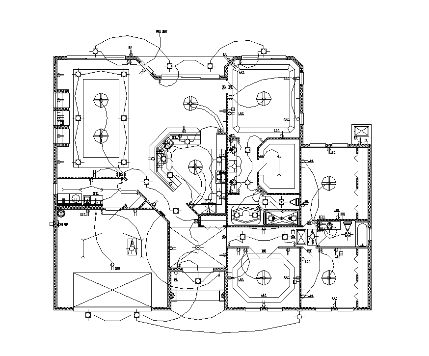 Factory building electrical installation detail plan