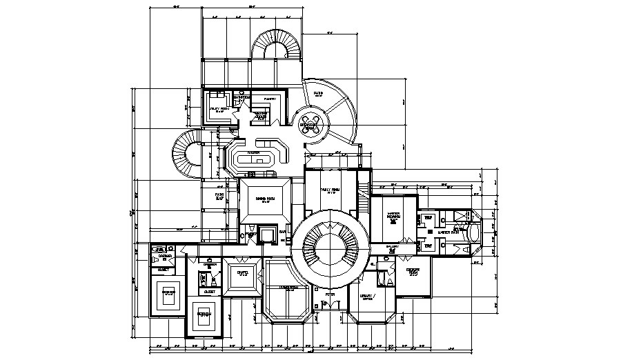 First-floor plan of the residential bungalow in dwg file
