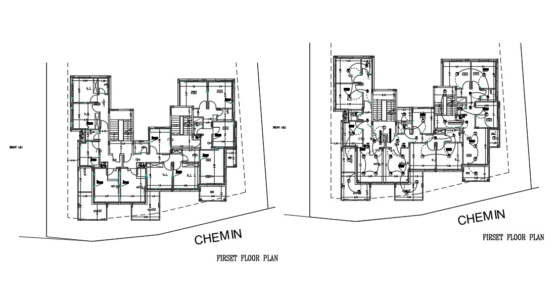 First Floor Plan With Electrical Layout Drawing AutoCAD