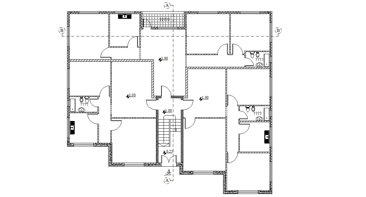 Free Download Residential Building Planning AutoCAD