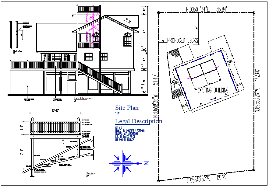 Front elevation view and existing structure site map plan