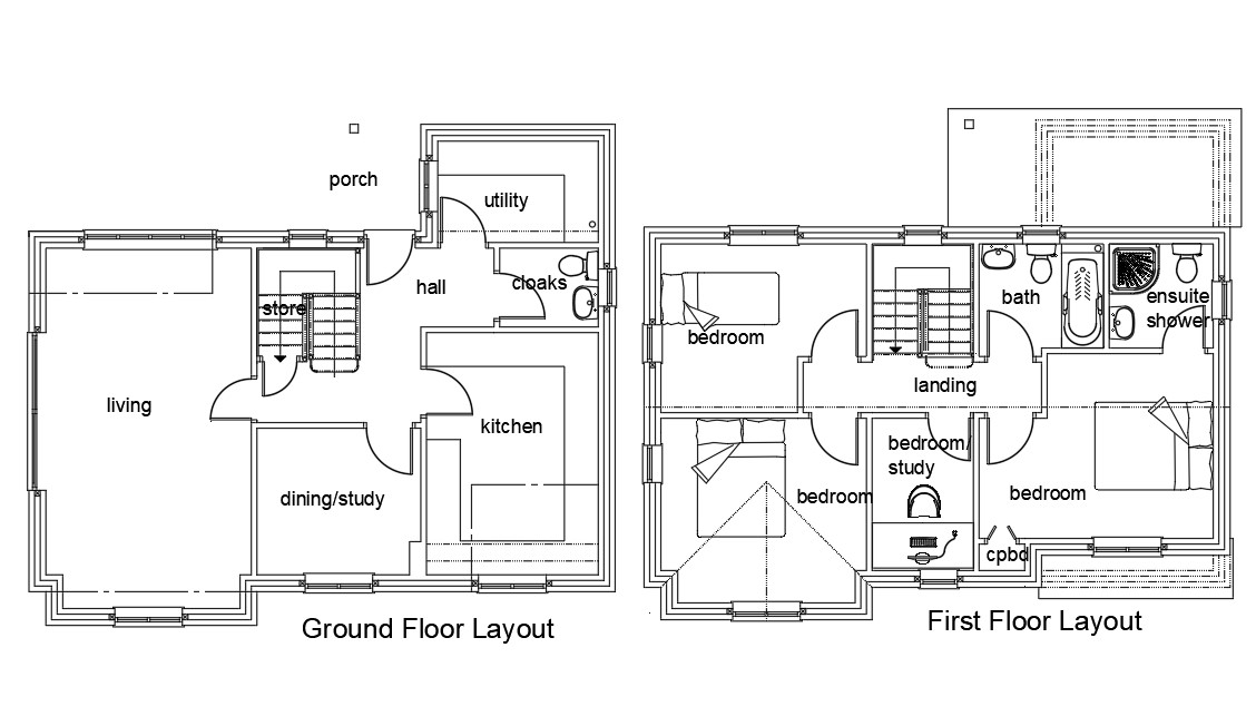 Ground Floor And First Floor House Sample Plan AutoCAD
