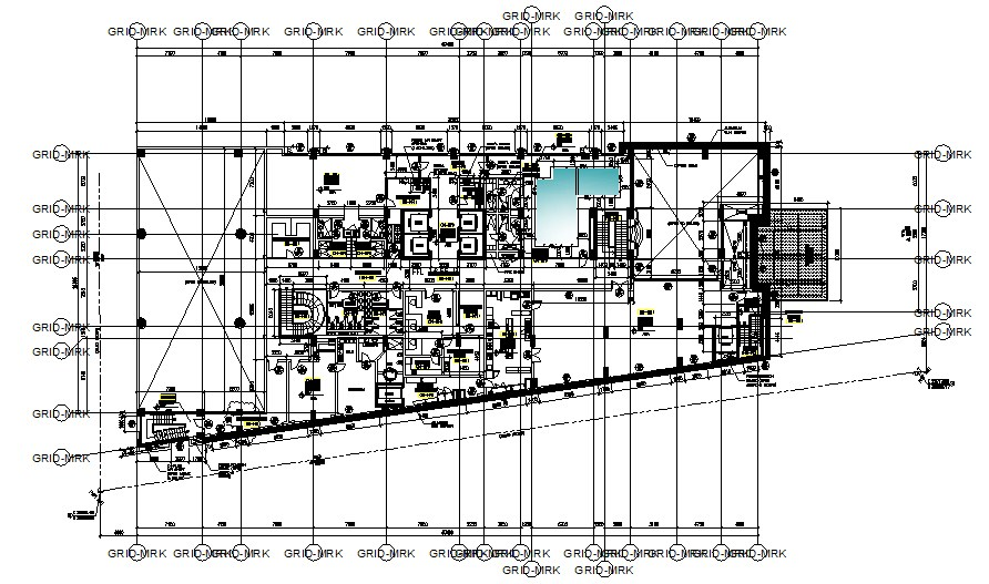 Hotel first-floor plan 17.400mtr x 28.195mtr with detail