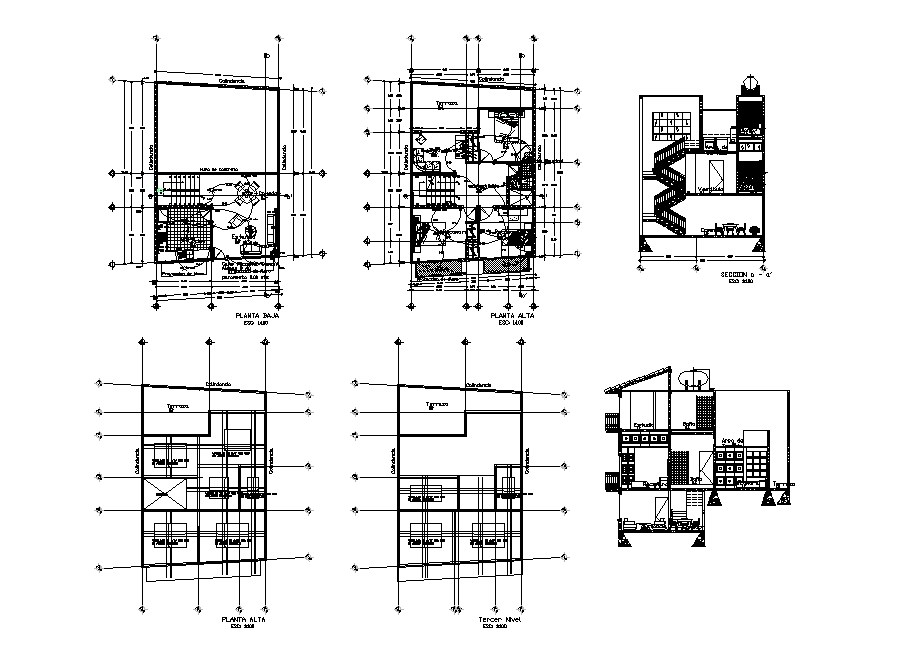 House two-story section, electrical layout plan and auto