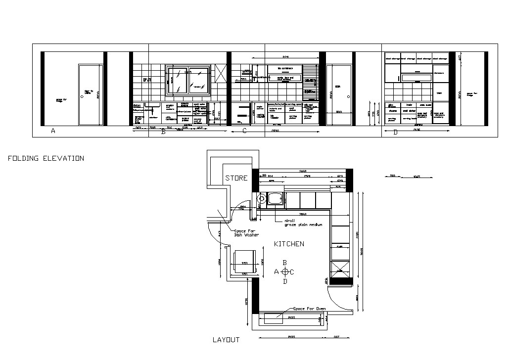 Kitchen interior elevation and plan 2d view CAD