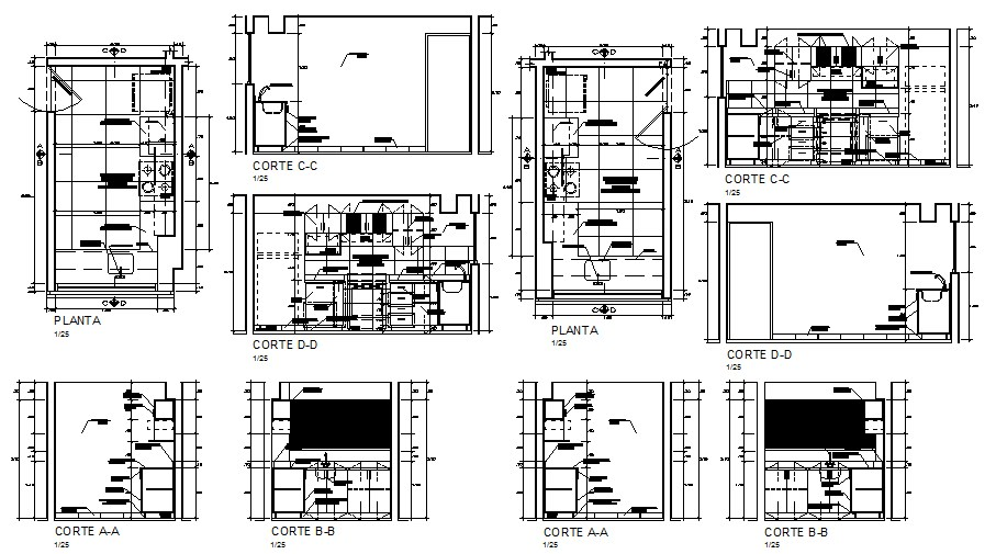 Kitchen of hotel all sided section, plan and auto-cad