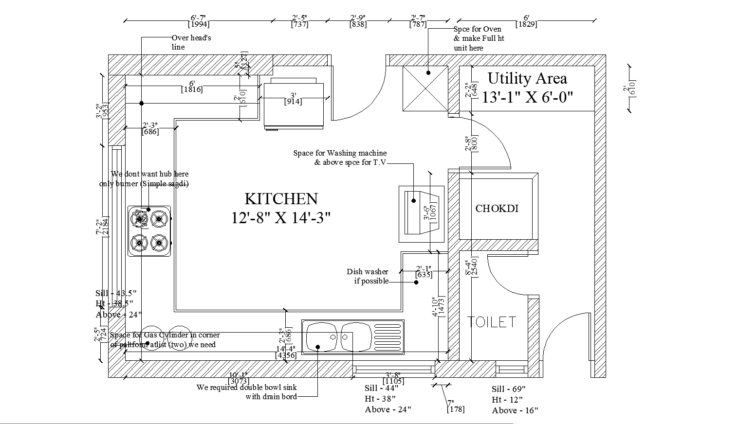 Layout plan of Kitchen with detail dimensions in Autocad