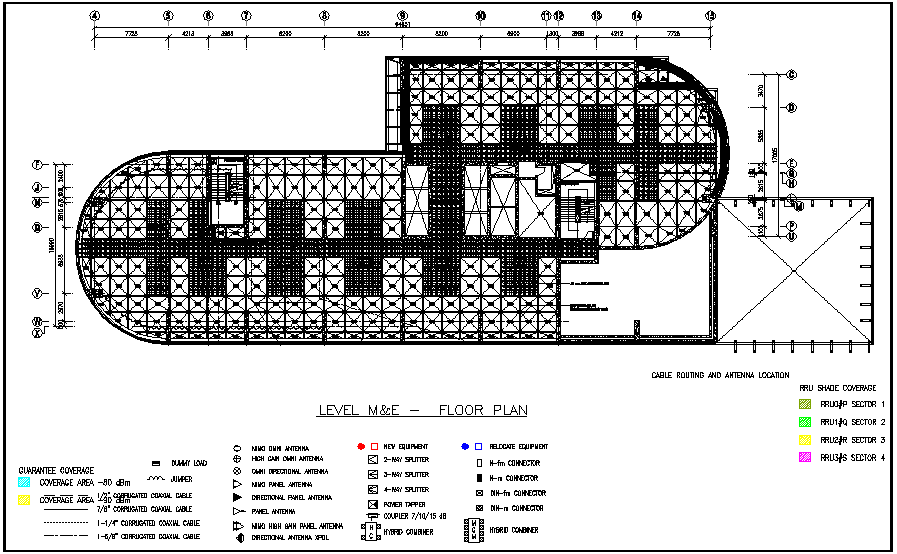 Level M and E floor plan with electrical cable routing dwg