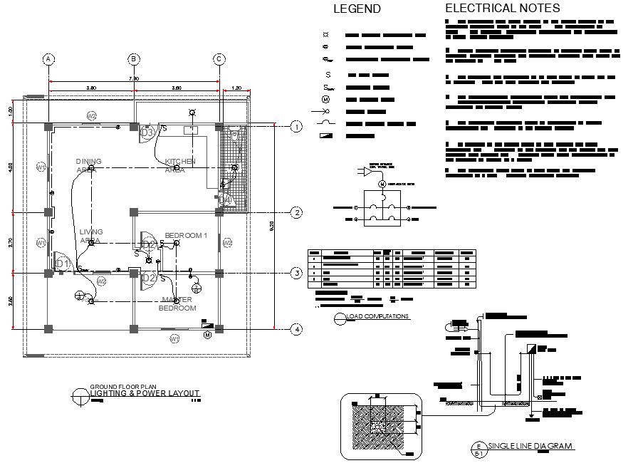 Lighting & power layout detail dwg file
