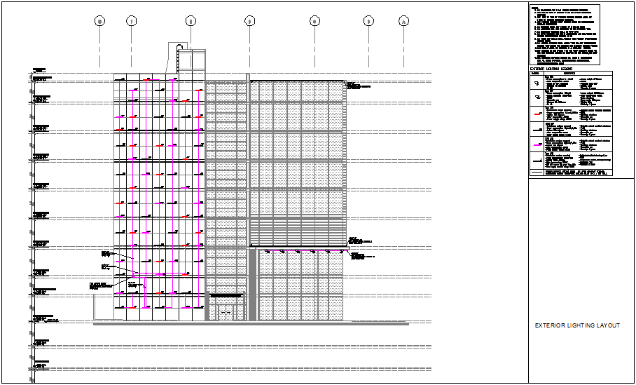 Lighting layout elevation of building with its legend dwg