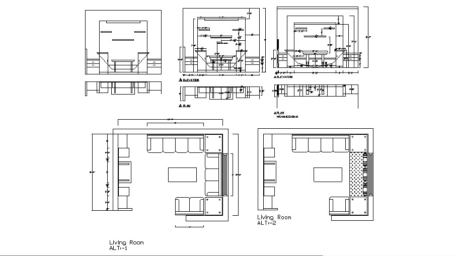 Living room elevation and plan cad drawing details dwg