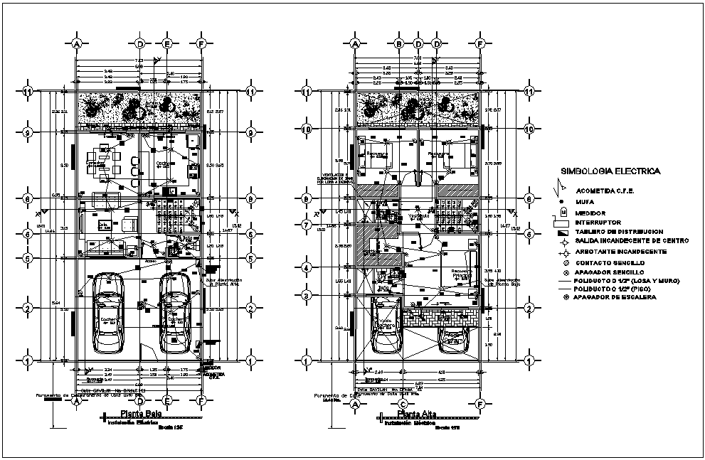 Low and high floor plan of residential area with electric